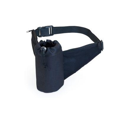 marca-laser - Cinta fitness para squeeze - em poliéster na cor preta, com 2 bolsos externo com tela e fechamento com zíper. Cinto regulável