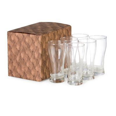 Marca Laser - Conjunto de copos personalizados em vidro para cerveja, contém 6 unidades com capacidade para 200 ml cada.