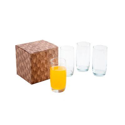 Marca Laser - Conjunto personalizado com 4 copos de vidro para água 440 ml.