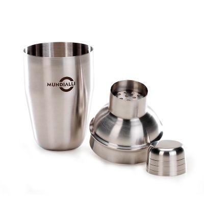 Marca Laser - Coqueteleira personalizada em aço inox. Capacidade 350 ml.