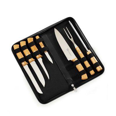 marca-laser - Estojo para churrasco personalizado com 8 peças em bambu e aço inox.