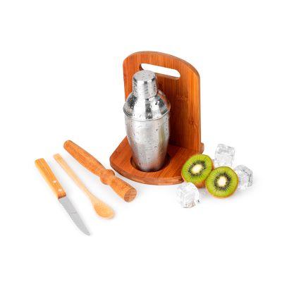 """Marca Laser - Kit caipirinha personalizado - 6 peças com tábua, base, amassador, colher e faca de mesa 4"""" em bambu / aço inox e coqueteleira em aço inox 350 ml."""