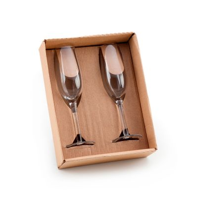 Marca Laser - Caixa para presente com 02 taças de vidro, para champanhe 210ml