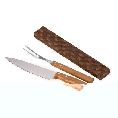 """marca-laser - Kit churrasco econômico, com: faca 8"""", garfo em bambu/aço inox"""