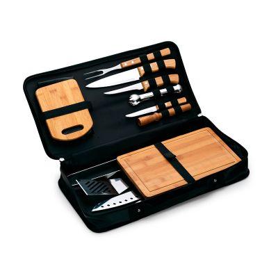 Kit churrasco personalizado, estojo maleta para churrasco / caipirinha com 14 peças. - Marca Laser