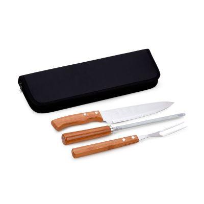 """- Estojo econômico personalizado para churrasco, com 4 peças com faca 8"""", garfo e afiador em bambu e aço inox. Sua marca presente nos momentos especiais..."""