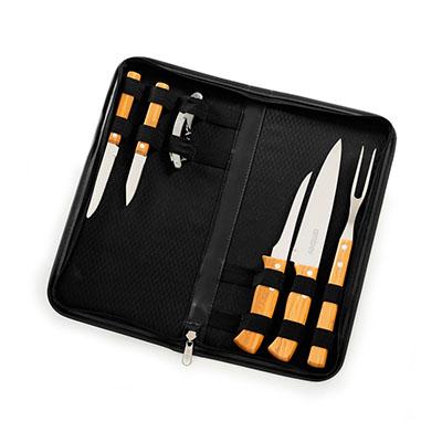 marca-laser - Estojo para churrasco 7 peças em bambu e aço inox