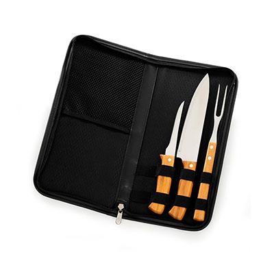 Marca Laser - Estojo para churrasco personalizado com 4 peças em em bambu e aço inox.