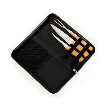 """Marca Laser - Estojo personalizado para churrasco, com 4 peças em material sintético na cor preta com faca 7"""", garfo e faca de desossa 5"""" em bambu e aço inox."""
