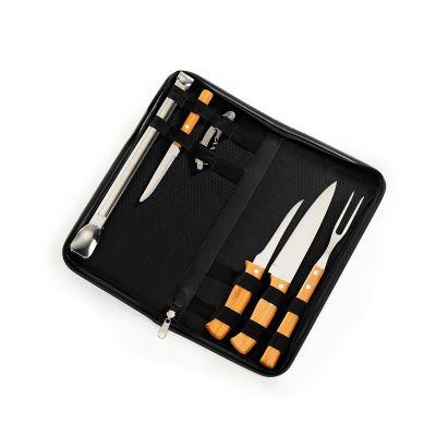 marca-laser - Estojo para churrasco 7 peças em material sintético na cor preta - med. 33cm, abridor com saca-rolhas inox