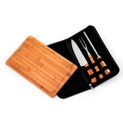 marca-laser - Estojo personalizado para churrasco, com 4 peças em bambu.