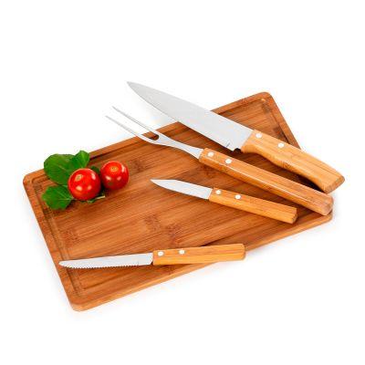 """Marca Laser - Kit churrasco personalizado com tábua retangular ST em bambu, faca 7"""", garfo, faca de mesa 4"""" e faca de legumes 3"""" em bambu / aço inox - Medidas: 320..."""