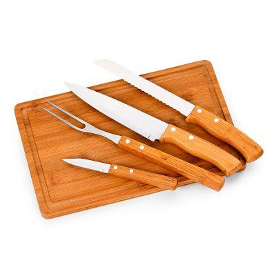 """Marca Laser - Kit churrasco personalizado com tábua retangular ST em bambu, faca 7"""", garfo, faca de pão 7"""" e faca de legumes 3"""" em bambu/aço inox - Medidas: 320 x 2..."""