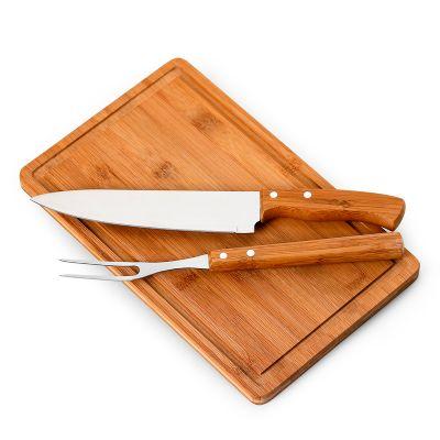 """marca-laser - Kit churrasco personalizado com tábua retangular ST em bambu, faca 8"""" e garfo em bambu / aço inox - Medidas: 320 x 200 x 15 mm."""