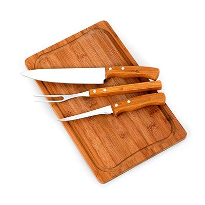 """Marca Laser - Kit churrasco personalizado com tábua retangular TR em bambu - Medidas: 370 x 230 x 15 mm, faca 8"""", garfo e faca de desossa 5"""" em bambu / aço inox."""