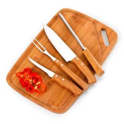 """Marca Laser - Kit churrasco personalizado com tábua LX em bambu com alça lateral - Medidas: 420 x 280 x 15 mm, faca 8"""", garfo, afiador e faca de desossa 5"""" em bambu..."""