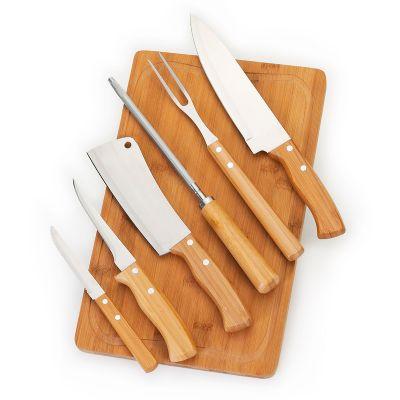 """Kit churrasco personalizado com tábua TR em bambu - Medidas: 370 x 230 x 15 mm, faca 8"""", garfo, afiador, cutelo, faca de desossa 5"""" e faca de mesa 4""""... - Marca Laser"""