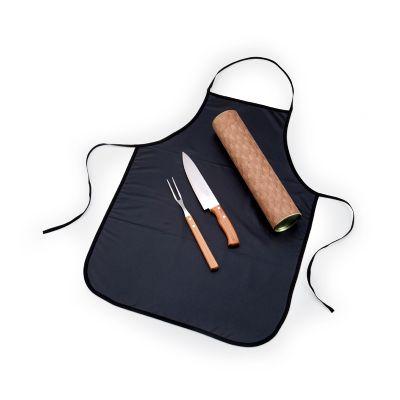 """marca-laser - Tubo para churrasco personalizado em kraft com faca 8"""", garfo em bambu / aço inox e avental em material sintético na cor preta."""