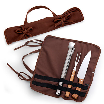 """marca-laser - Estojo flexível, algodão na cor marrom, para churrasco 4 peças com faca 8"""", garfo em bambu/aço inox, pegador para churrasco em inox - med. 33cm"""