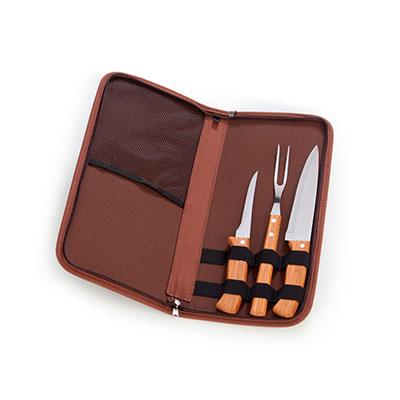 """marca-laser - Estojo para churrasco 4 peças - em algodão na cor marrom com faca 7"""", garfo, faca de desossa 5"""" em bambu/aço inox"""
