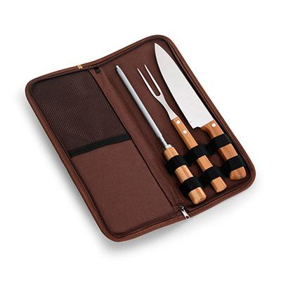 """marca-laser - Estojo para churrasco 4 peças - em algodão na cor marrom com faca 8"""", garfo, afiador em bambu/aço inox"""