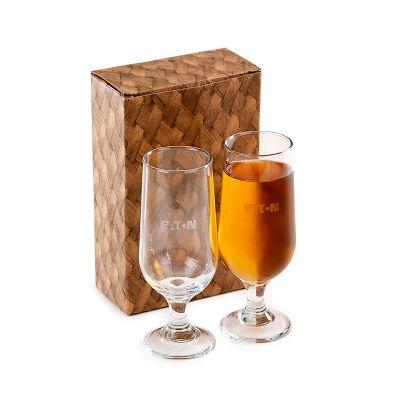 Marca Laser - Conjunto personalizado com 2 copos de vidro para suco ou cerveja 300 ml.