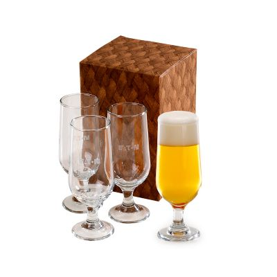 Marca Laser - Conjunto personalizado com 4 copos de vidro para suco e cerveja 300 ml.