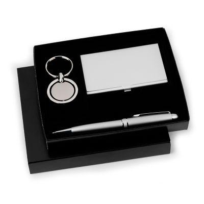 Marca Laser - Kit escritório personalizado com porta cartões em alumínio, chaveiro giratório redondo em metal e caneta esferográfica em metal prata.