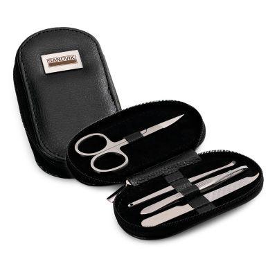 Marca Laser - Estojo para manicure personalizado em couro sintético com 4 acessórios: tesoura, pinça, espátula e lixa.