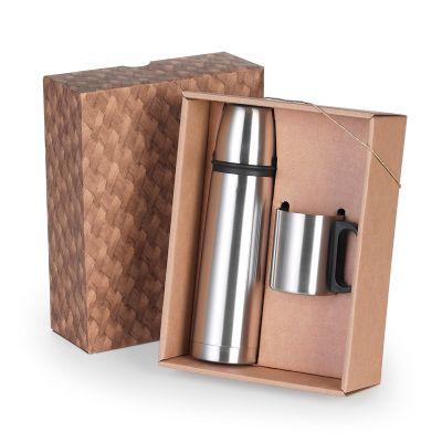Marca Laser - Caixa para presente personalizada, com squeeze térmico em aço inox 500 ml com tampa e caneca 200 ml em aço inox.