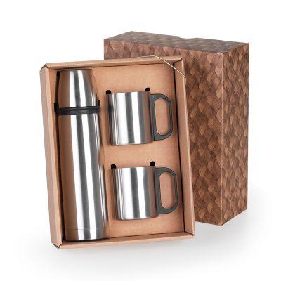 Marca Laser - Caixa para presente personalizada, com squeeze térmico em aço inox 500 ml, tampa e 02 canecas 200 ml em aço inox.