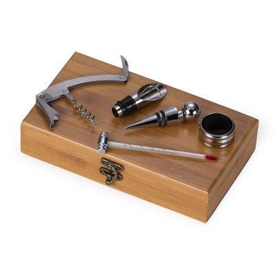 marca-laser - Kit vinho personalizado em caixa de bambu, contendo: 01 tampão, 01 direcionador, 01 corta gotas, 01 abridor saca-rolhas e 01 termômetro - Medidas: 230...