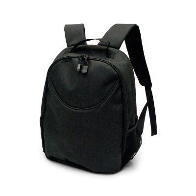 marca-laser - Mochila em poliéster reforçado na cor preta, com 02 compartimentos internos. Dois compartimentos laterais externos com tela e elástico
