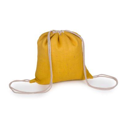 Marca Laser - Mochila em juta 100% natural. Cor amarela com alças duplas em cordão de algodão cru para fechamento e transporte. Med. 410x370mm