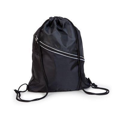 Marca Laser - Mochila esportiva personalizada em nylon na cor preta, com alças duplas tipo cordão para fechamento e transporte.