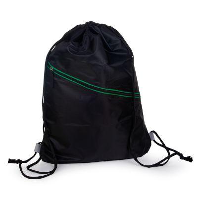 marca-laser - Mochila Fitness confeccionada em nylon na cor preta com detalhe frontal na cor verde.