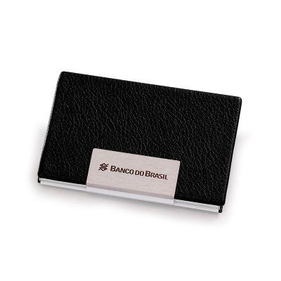 marca-laser - Porta-cartões personalizado em alumínio e revestido em material sintético na cor preta. Capacidade para 20 cartões (aproximadamente).