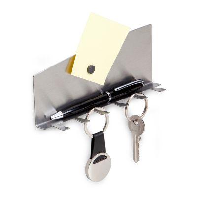 Marca Laser - PPorta-chaves personalizado em aço inox, com fita auto adesiva de alta fixação - Medidas: 170 x 35 x 72 mm. Acompanha 2 imãs.