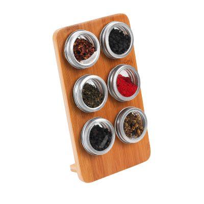 marca-laser - Porta condimentos em bambu com 06 potes em vidro com tampa cromada.