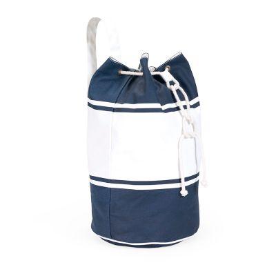 marca-laser - Saco mochila em algodão 100% natural na cor branca e azul marinho.