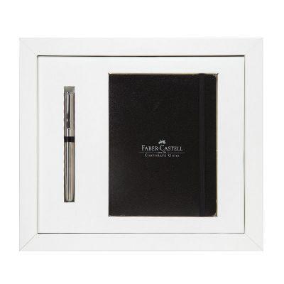 faber-castell - Kit notebook com caderneta e caneta de metal personalizada.