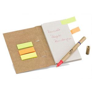 Faber-Castell - Multi Eco Note Personalizado - Capa em Kraft 280 g - Bloco com 70 folhas elaboradas com papel reciclato 63 g, 03 Exclusivos Sticks em cores fluorescen...