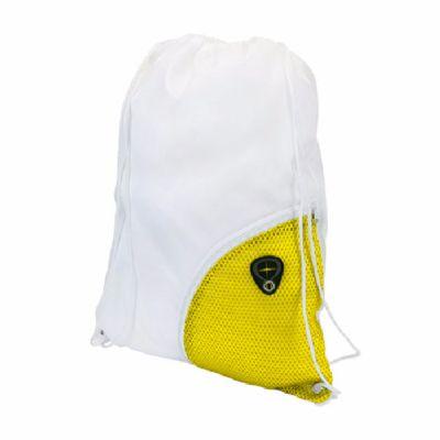 - Mochila saco em nylon 210, bolso lateral em tela com saída para fone de ouvido. DIM: 33x42 cm.