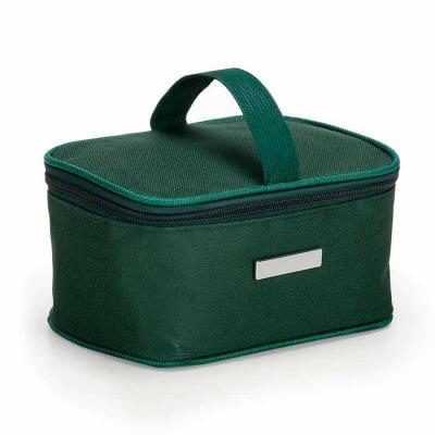 Bolsa térmica 2,6 litros em nylon com alça para mão, parte interna com revestimento térmico e aco...