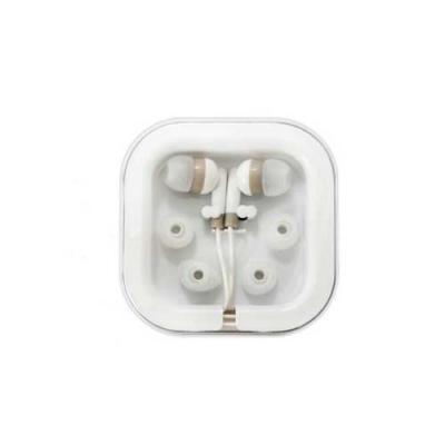 Fone de ouvido intra-auricular em caixinha plástica com tampa acrílica. Acompanha 2 pares em tama...