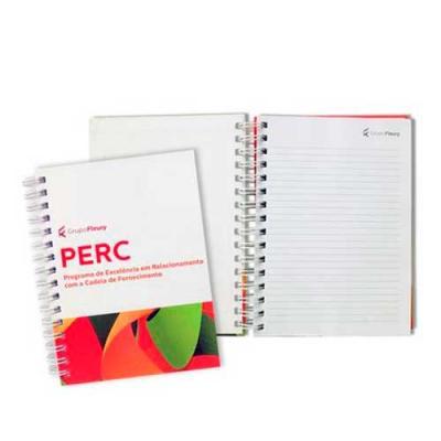 Caderno capa dura folhas pautadas brancas