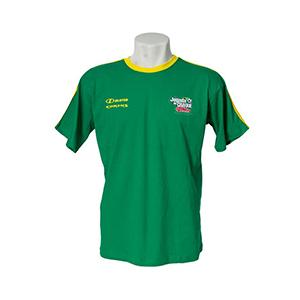 Skill Brindes Promocionais - Camiseta gola careca, verde com detalhes amarelos