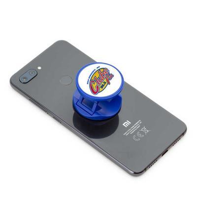 """Suporte retrátil para celular em material plástico com verso adesivado (3M). Utilização como """"ane..."""