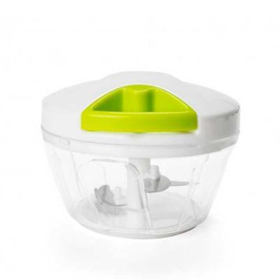 Processador de alimentos manual, tampa plástica de polipropileno com puxador verde, pote transpar...