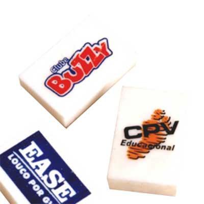 Borrachas promocionais, personalizáveis com diferentes tipos de impressões. Adquira já a sua!